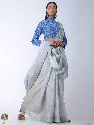 Blue Block-printed Cotton Blouse by Jaypore