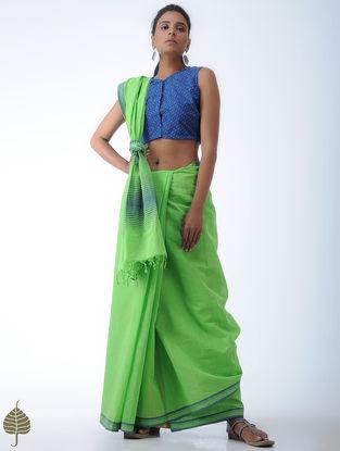 Blue-Ivory Ikat Cotton Blouse by Jaypore
