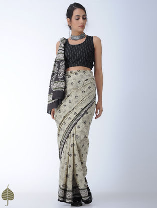 Black Ikat Cotton Blouse by Jaypore