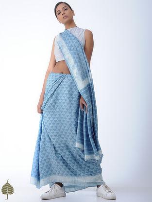 Blue-Ivory Striped Cotton Khadi Blouse by Jaypore