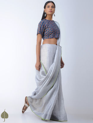 Indigo-Rust Ajrakh-printed Cotton Blouse by Jaypore