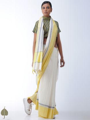 Yellow-Indigo Block-printed Cotton Blouse by Jaypore