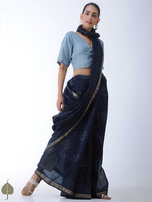 Blue Block-printed Habutai Silk Blouse by Jaypore