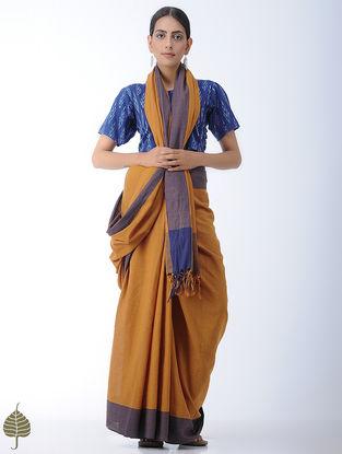 Indigo-Ivory Ikat Cotton Blouse by Jaypore