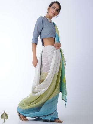 Indigo-Ivory Checkered Cotton Khadi Blouse by Jaypore