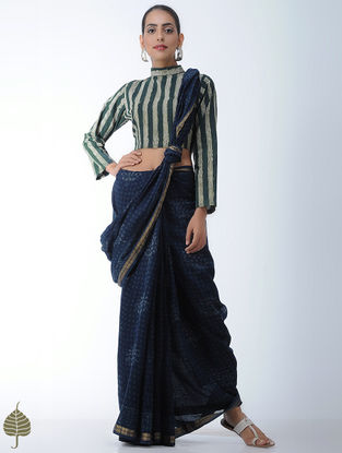 Green-Yellow Block-printed Cotton Blouse by Jaypore
