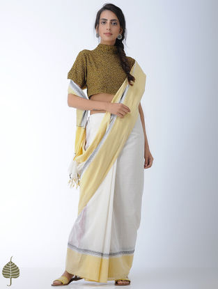 Yellow-Charcoal Natural-dye Ajrakh-printed Cotton Blouse by Jaypore