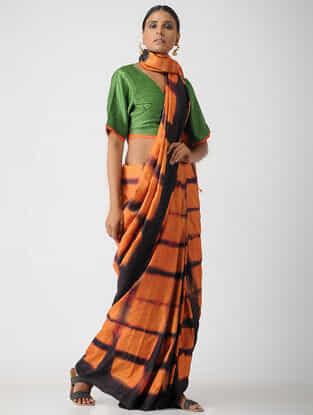 Green Cotton Mashru Blouse by Jaypore