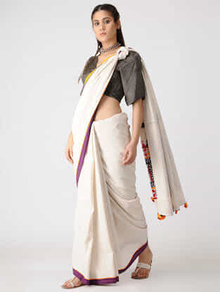 Brown Gajji Silk Blouse by Jaypore