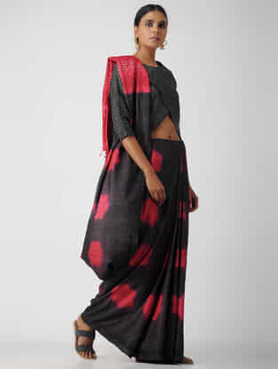 Black Cotton Mashru Blouse by Jaypore