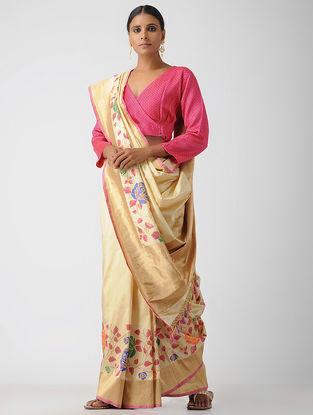 Pink Cotton Mashru Blouse by Jaypore