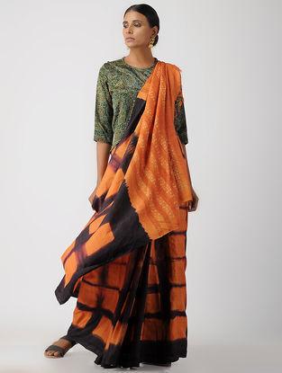 Green Block-printed Gajji Silk Blouse by Jaypore