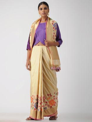 Purple Cotton Mashru Blouse by Jaypore
