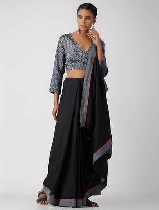 Blue Block-printed Gajji Silk Blouse by Jaypore