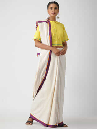 Yellow Cotton Khadi Blouse by Jaypore