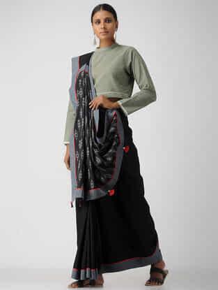 Grey Cotton Khadi Blouse by Jaypore