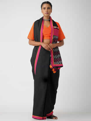 Orange Cotton Khadi Blouse by Jaypore