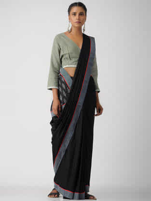 Grey Cotton Khadi Blouse by Jaypore