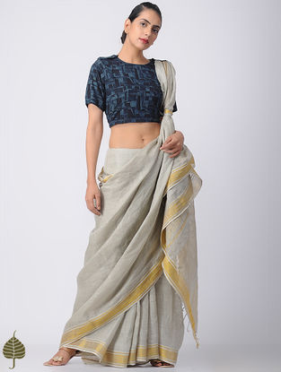 Indigo Ajrakh Cotton Blouse by Jaypore