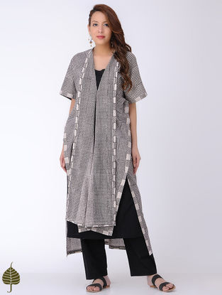 Ivory-Black Bagh-printed Cotton Kaftan with Dress (Set of 2)