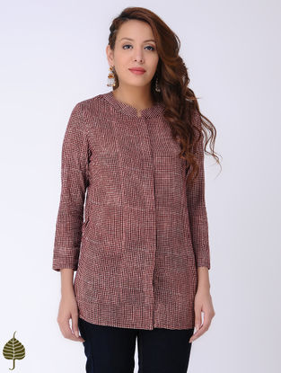 Black-Ivory Bagh-printed Cotton Shirt by Jaypore