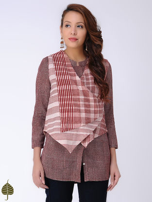 Ivory-Madder Bagh-printed Cotton Jacket by Jaypore