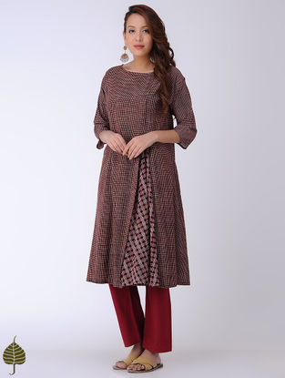 Black-Madder Bagh-printed Cotton Kurta by Jaypore