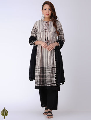Ivory-Black Bagh-printed Cotton Kurta by Jaypore