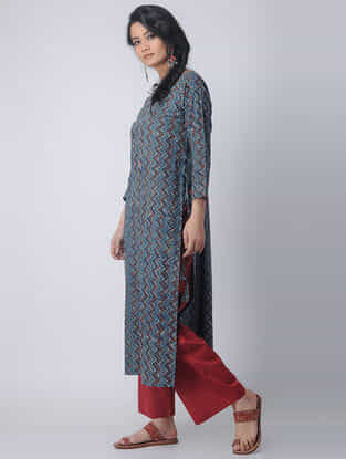 Indigo-Madder Block-printed Cotton Kurta with Tassels by Jaypore