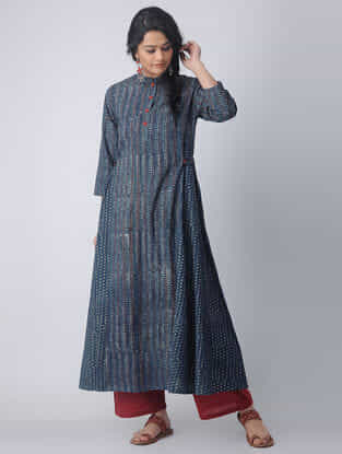 Indigo-Madder Block-printed Cotton Kurta by Jaypore