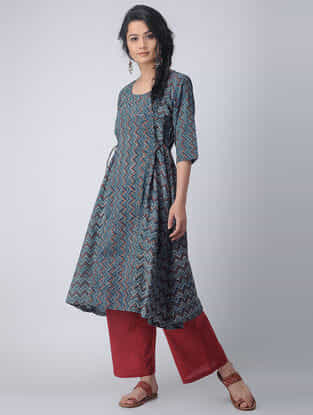 Indigo-Madder Block-printed Cotton Kurta with Tie-ups by Jaypore