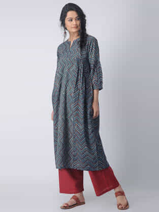 Indigo-Madder Block-printed Cotton Kurta with Gathers by Jaypore