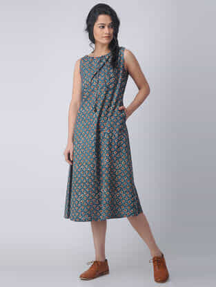 Indigo-Madder Block-printed Cotton Dress with Pockets by Jaypore
