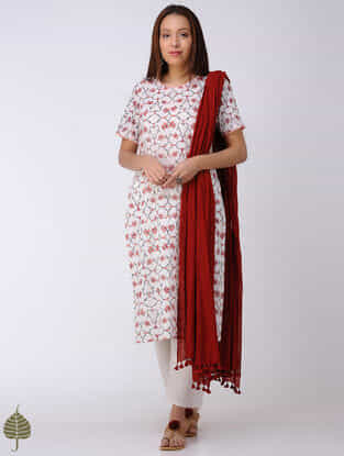 Peach-White Block-printed Cotton Dobby Kurta