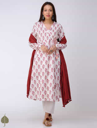 Peach-White Block-printed Cotton Dobby Angrakha