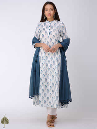 Blue-White Block-printed Cotton Dobby Kurta