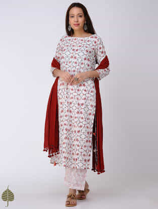 Peach-White Block-printed Cotton Dobby Kurta with Tassels