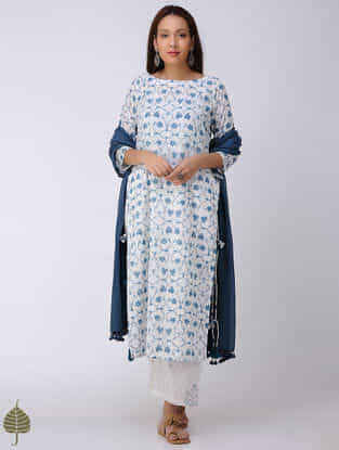 Blue-White Block-printed Cotton Dobby Kurta with Tassels