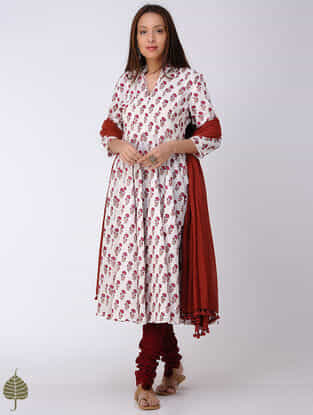 Red-White Block-printed Cotton Dobby Kalidar Kurta