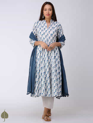 Blue-White Block-printed Cotton Dobby Kalidar Kurta