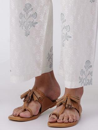 Blue-White Elasticated Waist Block-printed Cotton Dobby Pants