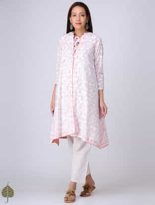 Red-White Block-printed Cotton Dobby Kurta with Dress (Set of 2)