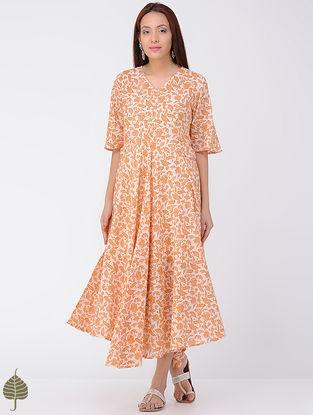 Orange-Ivory Block-printed Cotton Dress by Jaypore