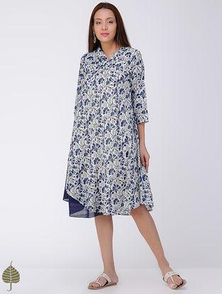 Blue-Ivory Block-printed Cotton Dress by Jaypore