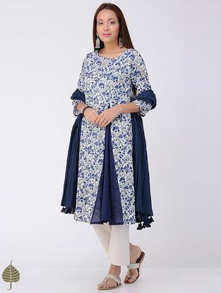 Blue-Ivory Block-printed Cotton Kurta by Jaypore