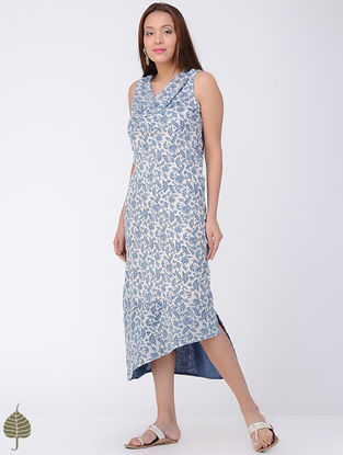 Blue-Ivory Block-printed Cotton Dress by Jaypore