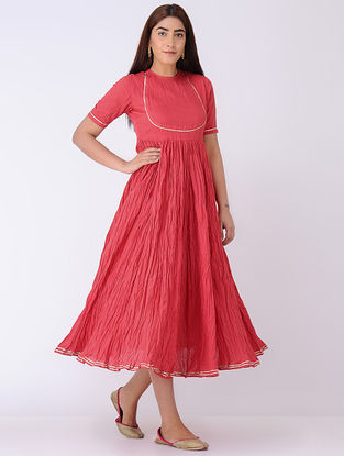 Red Crinkled Organic Cotton Dress with Gota Work