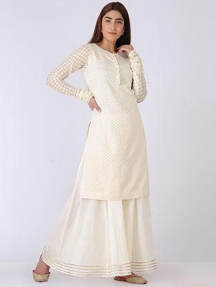 Ivory Organic Cotton and Chanderi Kurta with Sharara (Set of 2)