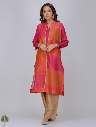 Orange-Pink Zari Butti Chanderi Jacket with Silk Twill Dress by Jaypore (Set of 2)