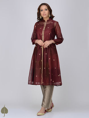 Maroon Zari Butti Chanderi Jacket with Silk Twill Dress by Jaypore (Set of 2)